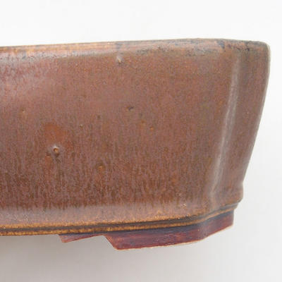 Ceramic bonsai bowl 20.5 x 17.5 x 6 cm, brown color - 2