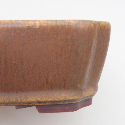 Ceramic bonsai bowl 20.5 x 17.5 x 6 cm, brown color - 2