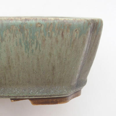 Ceramic bonsai bowl 20.5 x 17.5 x 6 cm, color brown-green - 2