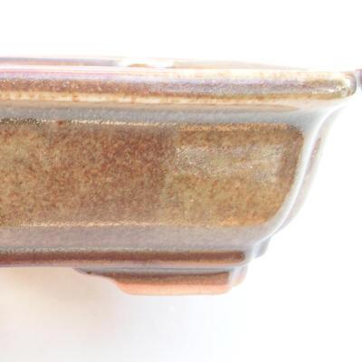 Ceramic bonsai bowl 17 x 13.5 x 4.5 cm, brown color - 2