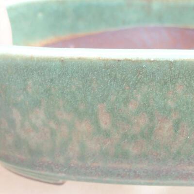 Ceramic bonsai bowl 12.5 x 9 x 3.5 cm, color green - 2