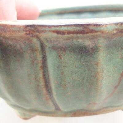 Ceramic bonsai bowl 10.5 x 10.5 x 4.5 cm, color green - 2