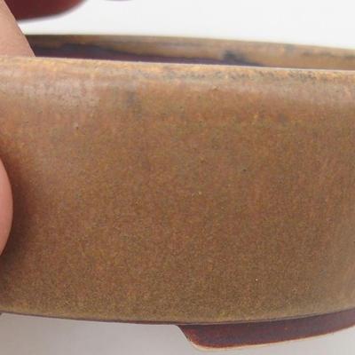 Ceramic bonsai bowl 9.5 x 8.5 x 3.5 cm, brown color - 2