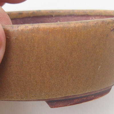 Ceramic bonsai bowl 10 x 8.5 x 3.5 cm, brown color - 2