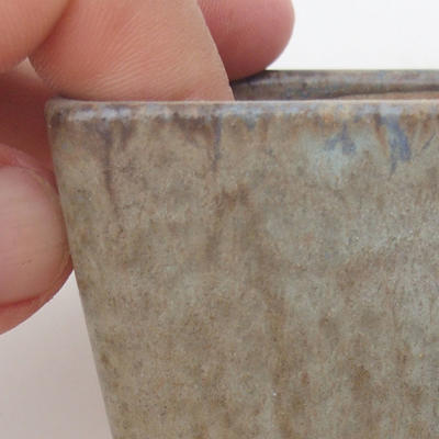 Ceramic bonsai bowl 6.5 x 6.5 x 5 cm, brown-blue color - 2