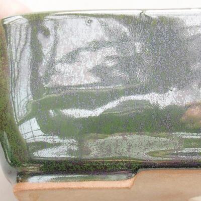 Ceramic bonsai bowl 15 x 10.5 x 5 cm, color green - 2