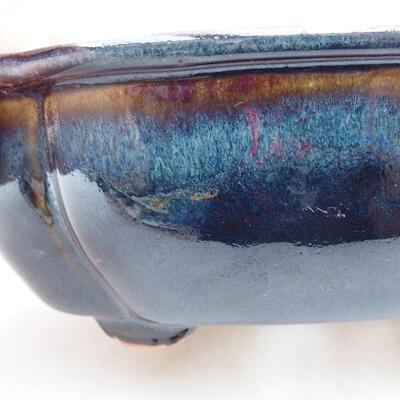 Ceramic bonsai bowl 12 x 10 x 4.5 cm, color blue-black - 2