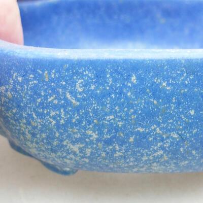 Ceramic bonsai bowl 10 x 8.5 x 3 cm, color blue - 2