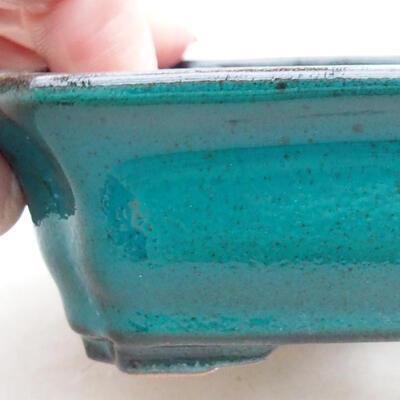 Ceramic bonsai bowl 12.5 x 10 x 4 cm, color green - 2