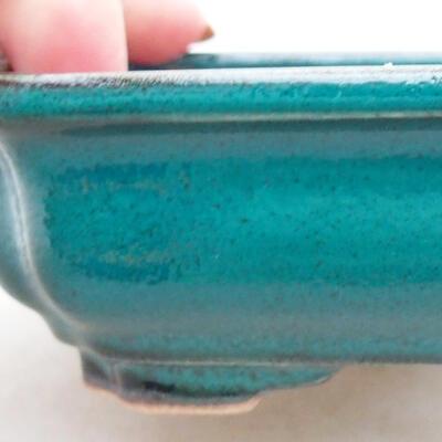 Ceramic bonsai bowl 13 x 10 x 3.5 cm, color green - 2