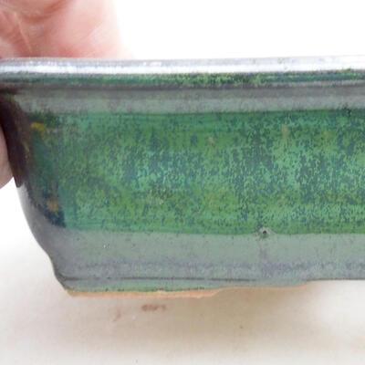 Ceramic bonsai bowl 13.5 x 10 x 3.5 cm, color green - 2