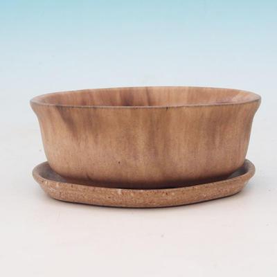Bonsai bowl + tray H05 - tray 10.5 x 8.5 x 4.5 cm, tray 10 x 7.5 x 1 cm, beige - bowl 10.5 x 8.5 x 4.5 cm, tray 10 x 7.5 x 1 cm - 2
