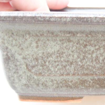 Ceramic bonsai bowl 16.5 x 11 x 5 cm, color brown-green - 2