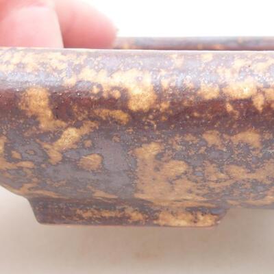 Ceramic bonsai bowl 16 x 12.5 x 3 cm, color brown-yellow - 2