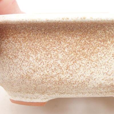 Ceramic bonsai bowl 14 x 11 x 5 cm, beige color - 2
