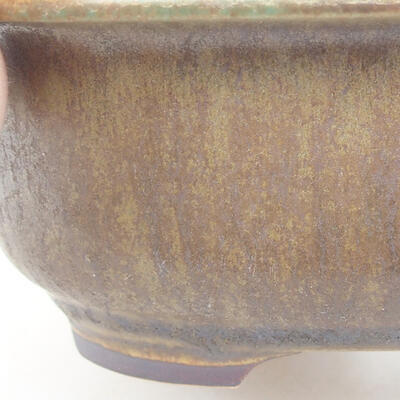 Ceramic bonsai bowl 14 x 11 x 5 cm, color brown-green - 2