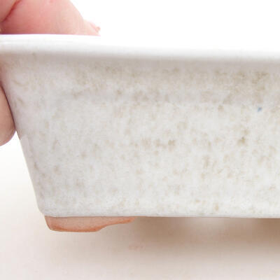 Ceramic bonsai bowl 13 x 10 x 5 cm, white color - 2