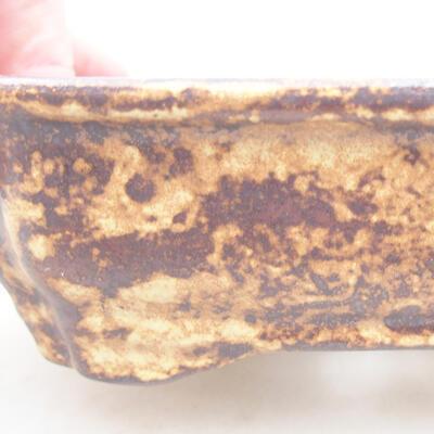 Ceramic bonsai bowl 15 x 12 x 4 cm, color brown-yellow - 2