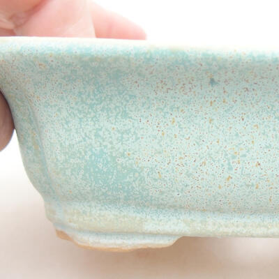 Ceramic bonsai bowl 12 x 9.5 x 4 cm, color green - 2