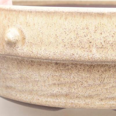 Ceramic bonsai bowl 18 x 18 x 5.5 cm, beige color - 2