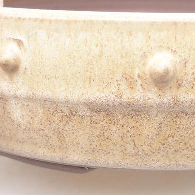 Ceramic bonsai bowl 21.5 x 21.5 x 5.5 cm, beige color - 2
