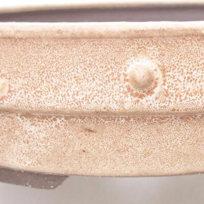 Ceramic bonsai bowl 19.5 x 19.5 x 4.5 cm, beige color - 2