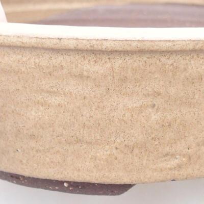 Ceramic bonsai bowl 20.5 x 20.5 x 5.5 cm, beige color - 2