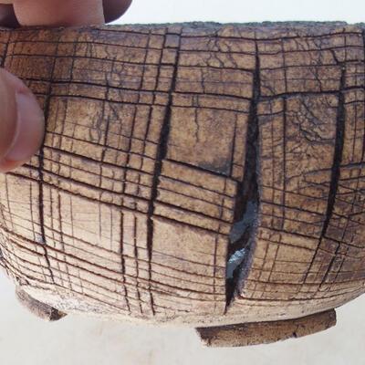 Ceramic bonsai bowl 14 x 14 x 7.5 cm, brown color - 2