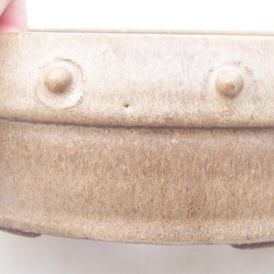 Ceramic bonsai bowl 19 x 19 x 5.5 cm, beige color - 2