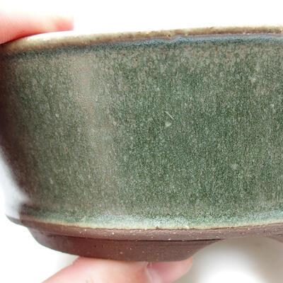 Ceramic bonsai bowl 14 x 14 x 5 cm, color green - 2