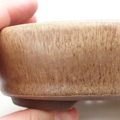 Ceramic bonsai bowl 14 x 14 x 4 cm, beige color - 2