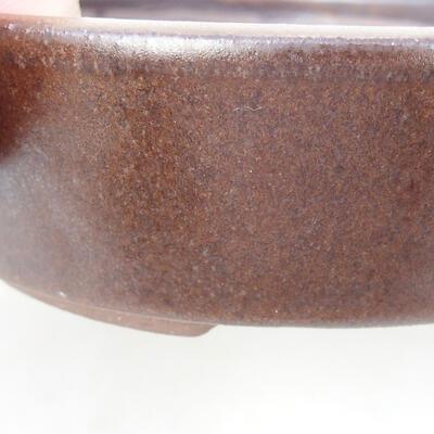 Ceramic bonsai bowl 14.5 x 14.5 x 4.5 cm, brown color - 2