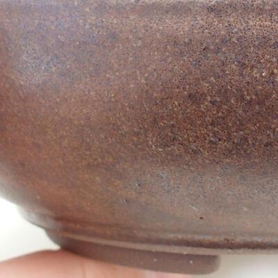 Ceramic bonsai bowl 15.5 x 15.5 x 4.5 cm, brown color - 2