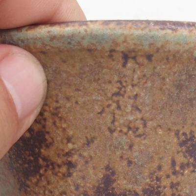 Ceramic bonsai bowl 11 x 11 x 7 cm, color brown-green - 2