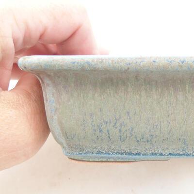 Ceramic bonsai bowl 13.5 x 9.5 x 4 cm, color blue - 2