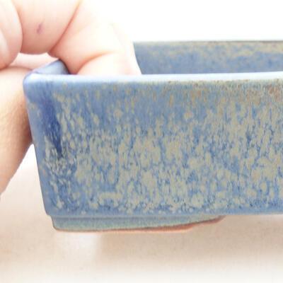 Ceramic bonsai bowl 13 x 9.5 x 3.5 cm, color blue - 2