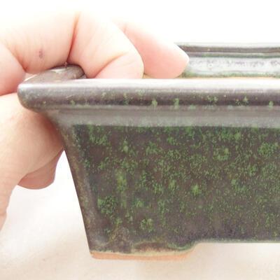 Ceramic bonsai bowl 11 x 8.5 x 4.5 cm, color green - 2