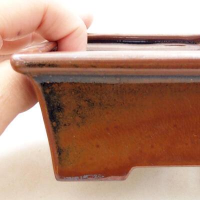 Ceramic bonsai bowl 11 x 8.5 x 4.5 cm, brown color - 2