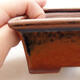 Ceramic bonsai bowl 11 x 8.5 x 4.5 cm, brown color - 2/3
