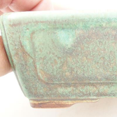 Ceramic bonsai bowl 12.5 x 9 x 4.5 cm, color green - 2