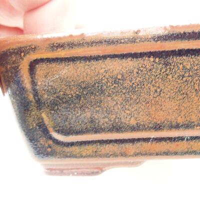 Ceramic bonsai bowl 12.5 x 9 x 4.5 cm, brown-black color - 2