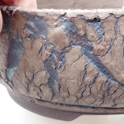 Ceramic bonsai bowl 18.5 x 18.5 x 7 cm, cracked color - 2