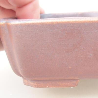 Ceramic bonsai bowl 15 x 11.5 x 4 cm, brown color - 2
