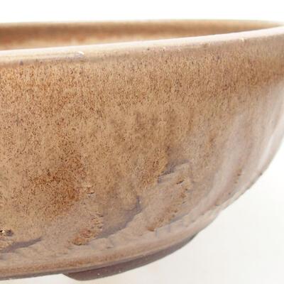 Ceramic bonsai bowl 20 x 20 x 6 cm, brown color - 2