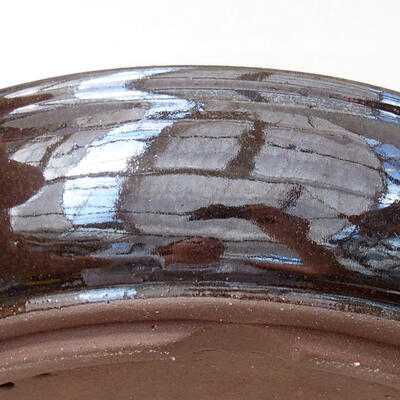 Ceramic bonsai bowl 18 x 18 x 5 cm, color brown - 2