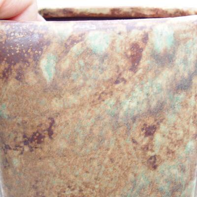 Ceramic bonsai bowl 10 x 10 x 15.5 cm, color brown-green - 2
