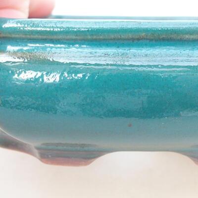 Ceramic bonsai bowl 12.5 x 10.5 x 3.5 cm, color green - 2