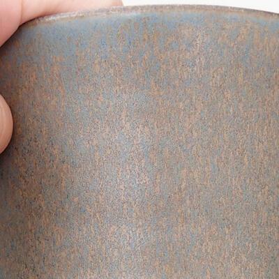 Ceramic bonsai bowl 11 x 11 x 14 cm, brown-blue color - 2