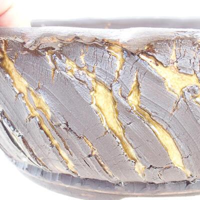 Ceramic bonsai bowl 21 x 21 x 8 cm, color crack yellow - 2