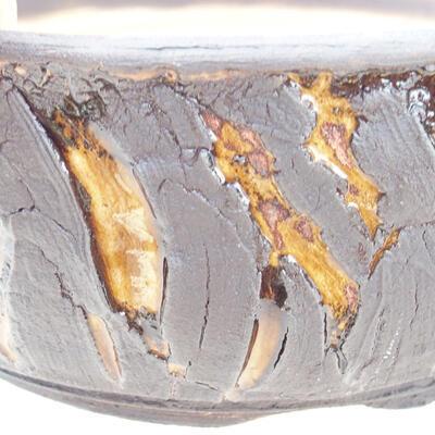 Ceramic bonsai bowl 19 x 19 x 7 cm, color crack yellow - 2